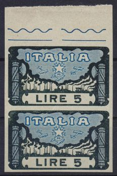 Kingdom of Italy – 1923 – March on Rome – Vertical pair – Sheet border – 5 Lire – Blue and black – Test stamp on glossy, medium thick card – No gum – No perforation