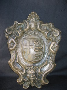 Bronze coat of arms of the Visconti family, depicting the Biscione of Milan - Italy - late 19th century