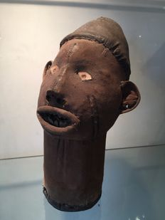 Ancient Funerary Head in fabric - BWENDE - Former Belgian Congo