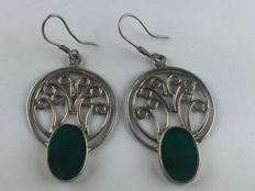 Large, vintage, solid 925 silver earrings with real green agate, from 1950