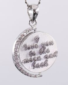 """ I Love you to the moon and back "" Revolving Pendant in White Gold, certified 0.61 Ct. With PINK diamonds"