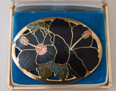Floral brooch, hibiscus, cloisonné, 22 kt gold-plated enamel