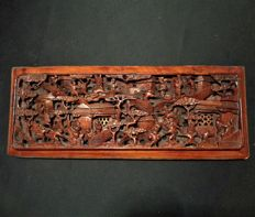 Wooden panel with figurative decoration – China – ca. 1900