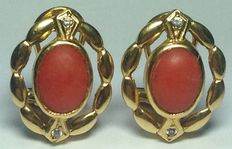 Gold earrings with Mediterranean red coral and zirconias # No reserve #