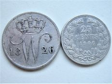 The Netherlands – 25 cents 1826 U and 1906 Willem I and Wilhelmina – silver