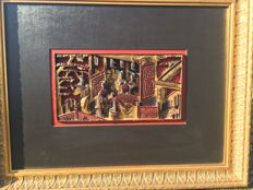 Lacquer panel, framed - China - 19th century