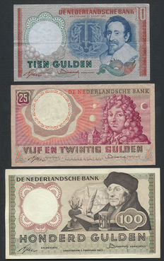 The Netherlands - 10 guilders 1953, 25 guilders 1955 and 100 guilders 1953 - NVMH 48-1a, 83-1a and 121-1