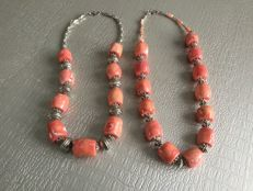 Two orange-coloured coral bead necklaces – 925 silver clasps
