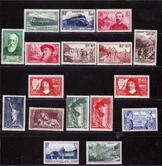 "France 1935/1945 - Set of 136 stamps including complete series and ""Victoire de Samothrace"" between Yvert no. 305 and 537"