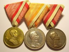 WW1 Austrian Original Bravery Medals - COMPLETE Set Of Three Classes