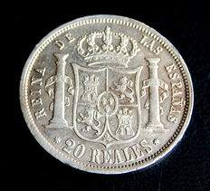 Spain. Isabel II – Attractive 20 silver Reales  1854 minted in Seville.