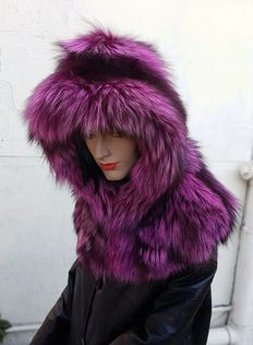 Hood, hat silver fox fur COLOUR PINK (MADE IN ITALY)