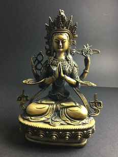 Representation of Chenrezig in patinated bronze - Nepal - end of the 20th century