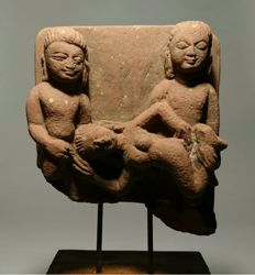 """Three Figures in Tantric Congress - red sandstone fragment on wood base - 13.5 x 7 x 5"""" (Approx)"""