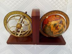 Antique world and sphere earth globe bookends.