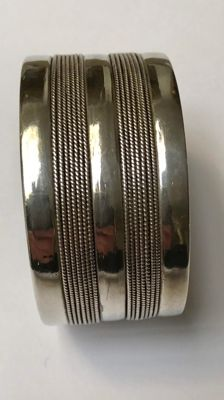 Very wide, richly decorated solid silver cuff bracelet