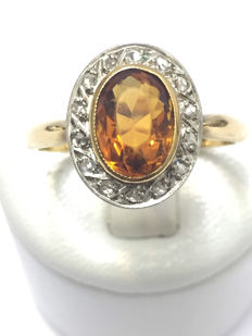 """Lovely gold ring embellished with citrine and diamonds totalling 2.22 ct """"no reserve"""""""