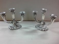 Pair of Baroque silver candelabra