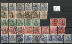 German Reich 1905/1923 - peace print / war print to inflation stamps