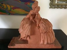 """Fanny Rozet - Group in terracotta, Art Deco, signed """"La Lecture"""" (transl. The Reading)"""