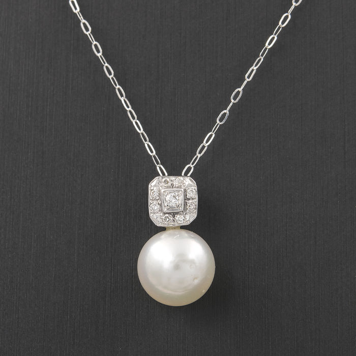 750/1000 (18 kt) white gold – Choker with diamonds, 0.20 ct – South Sea pearls – Chain length: 42 cm