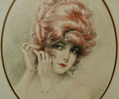 Maurice Millière (1871 - 1946) - Portrait of a young lady - watercolour and charcoal on paper