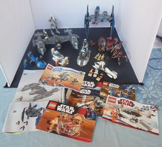 Star Wars - 8 sets amongst others 7673 + 8016  - Magna Guard Starfighter + Hyena Droid Bomber