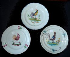 Set of three earthenware plates18/19th c. from eastern France