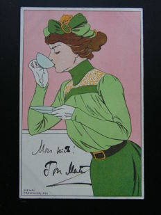 France - Woman drinking coffee - Henri Meunier - 1900 - Postcard