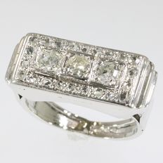 Vintage witgouden diamanten party ring - art deco uniseks ring - voor dames en heren - ca 1930