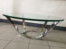 Roger Sprunger - Chromed steel and clear Glass Coffee Table