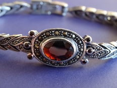 Silver bracelet with garnet and marcasite
