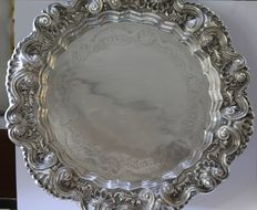 Big Round Solid Silver Platter, 1960´s, Portugal