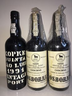"1985 Vintage Port Osborne x2 & 1991 Vintage Port Kopke ""Quinta Saint Luiz"" – 3  bottls in total"