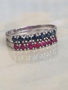 Set of two white gold women's rings with a total of approx. 0.42 ct rubies and sapphires