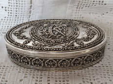 Richly decorated silver oval snuff box, Germany, ca. 1880