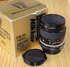 Nikon F Micro-Nikkor 55mm f/2.8 MACRO Ai-s lens - Vintage from 1980's.