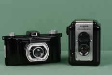2 vintage bakelite cameras for roll film The Argus 70-5 TLR camera and the Lumiere Lutac camera