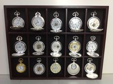 Mechanical clockworks - beautiful collection of 15 silver plated pocket watches in luxury display.