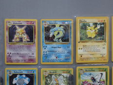Pokémon 1999 Base Set, Jungle & Fossil cards, incl Pikachu 1st edition Golden W Stamp & 5 Holofoils