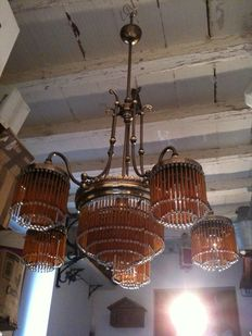 Art Nouveau style, brass and glass beads large chandelier, with 1 central light and 5 side lights - Venice, Italy, 1950s