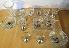 14 crystal (glass )or silverware with silver edge and/or foot
