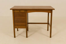 Art Nouveau - writing table with roller shutterr