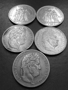 France – 5 Francs 1831 B, 1833 H, 1847 A, 1873 A, 1876 A, lot of 5 coins – Silver