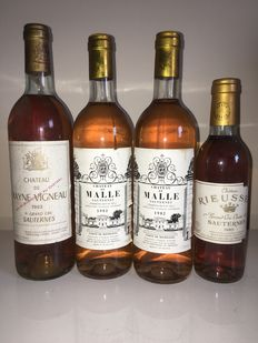 Sauternes: 1982 Rayne Vigneau & 1982 De Malle x2 & 1985 Rieussec 0.375 l –Four (4) bottles from which one (1) small