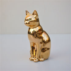 Unknown maker - Gold ceramic cat, signed