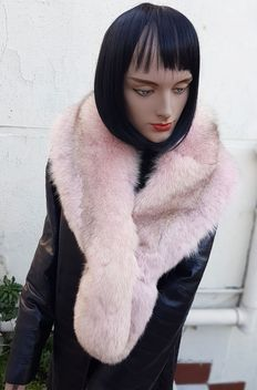 Extra-large wrap – Pink Silver Fox Fur – MADE IN ITALY.