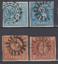 German states 1851/69 - a small collection on Stock Cards