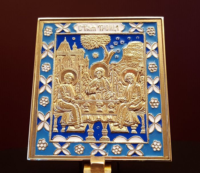 Icon Of The Holy Trinity In Enamelled Brass Icon With A Very Rich