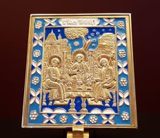 Icon of the Holy Trinity in enamelled brass. Icon with a very rich symbolism - 20th.